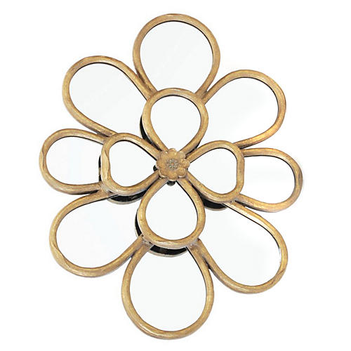"Lily 20""x27"" Pad Wall Mirror, Distressed Brass"