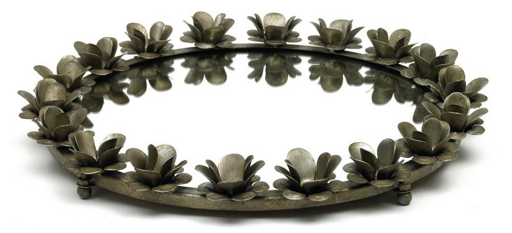 """23""""  Mirrored Tray with Roses, Gray"""