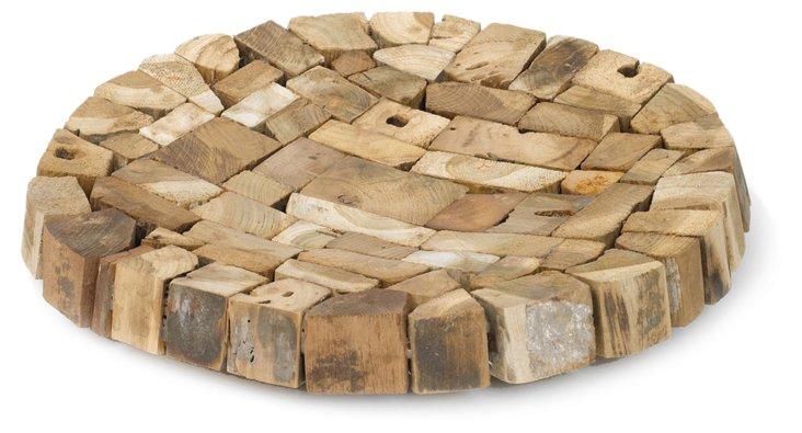 """22"""" Wood Mosaic Tray, Brown"""