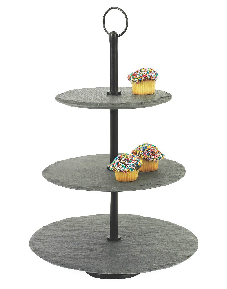 "17"" Slate 3-Tier Tray, Black/Gray"