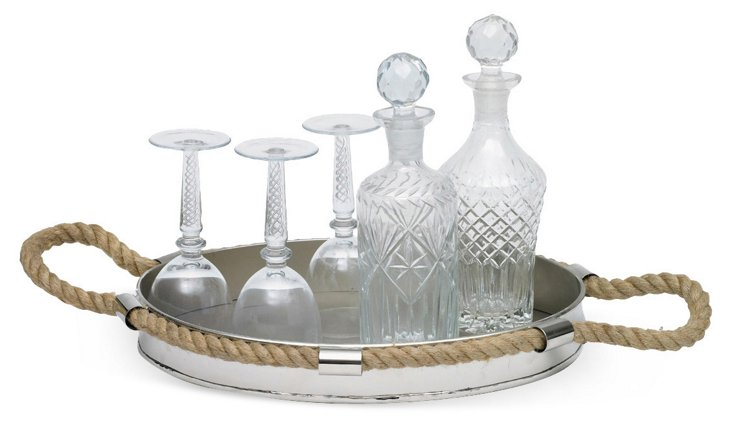 """17"""" Starboard Tray, Silver/Tan"""