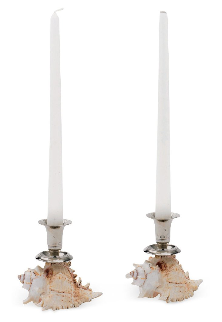 Pair of Shell Candleholders, Beige