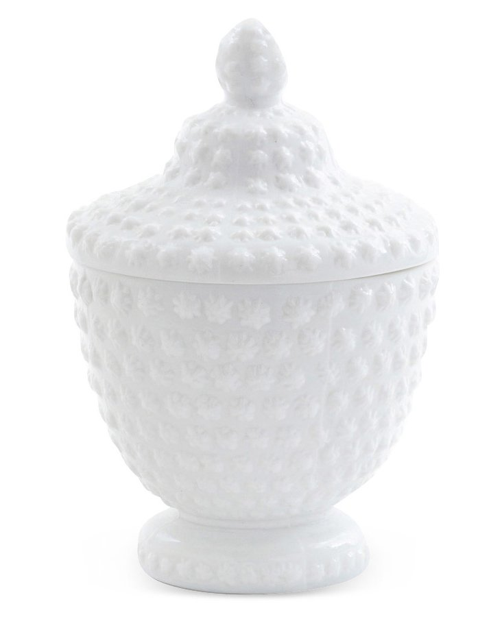 """11"""" Opal Dotted Jar, White"""