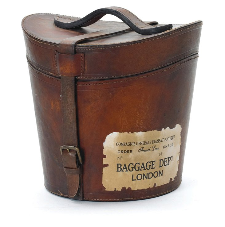 "12"" Leather Madame Hatbox"