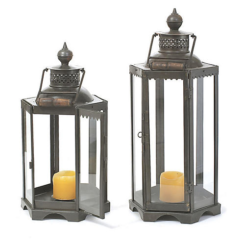 "20"" Black Iron Candle Lantern"