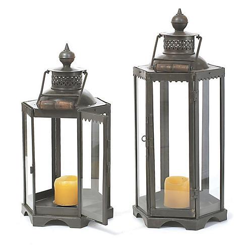 "25"" Black Iron Candle Lantern"