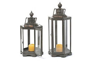 "20"" Black Iron Candle Lantern"