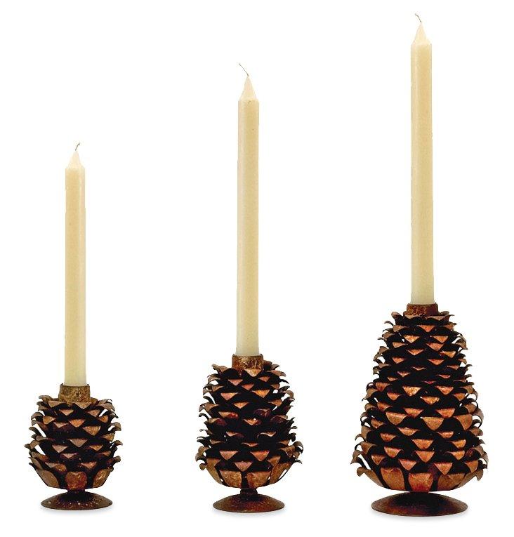 Asst. of 3 Pinecone Candlesticks, Brown