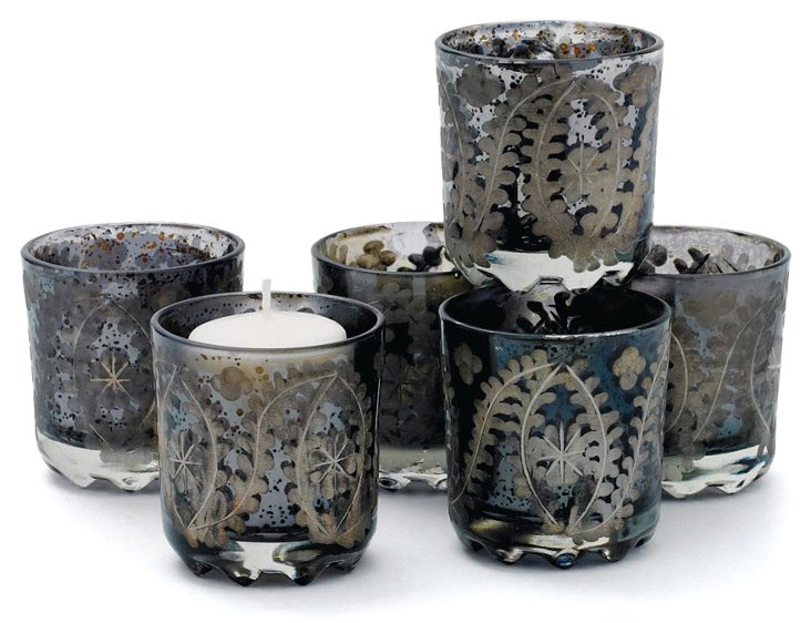 S/6 Votive Candleholders, Charcoal