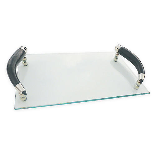 "13"" Curved-Horn-Handle Tray, Clear/Black"