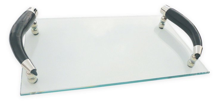 """13"""" Curved-Horn-Handle Tray, Clear/Black"""