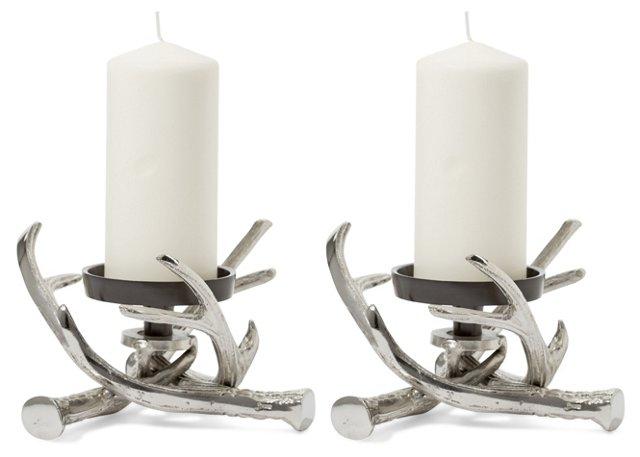 S/2 Antler Pillar Holders, Silver