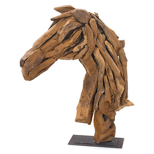 "27"" Wood Horse-Head Stand, Brown"