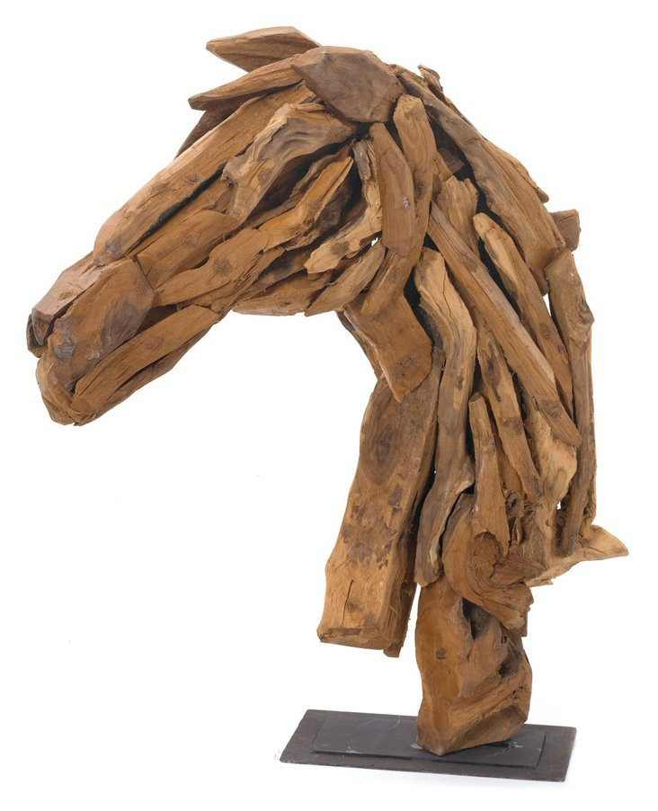 """27"""" Wood Horse-Head Stand, Brown"""