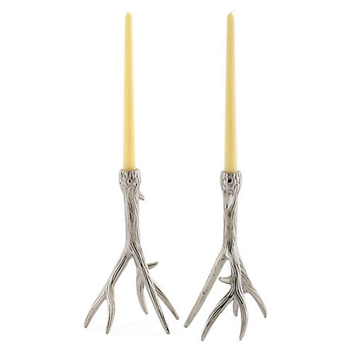 S/2 Tree-Branch Candlesticks, Silver