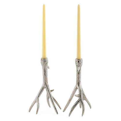 S/2 Tree-Branch Candlesticks, Silver