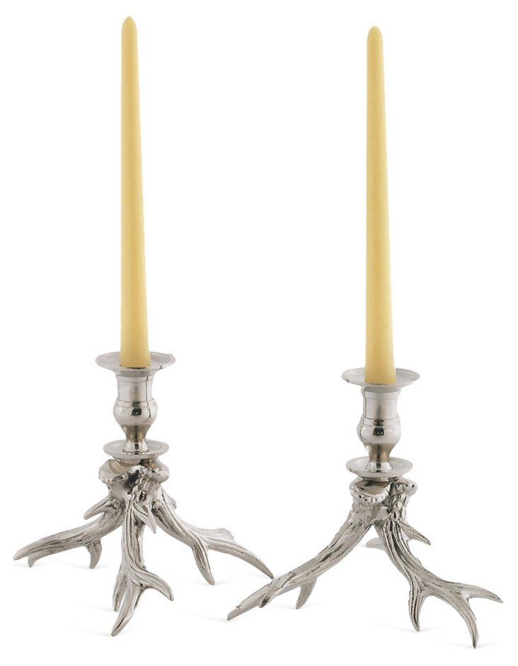 "Pair of 7"" Western Candlesticks, Silver"