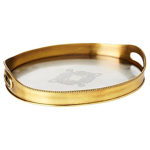 """15"""" Brass York Tray, Gold"""
