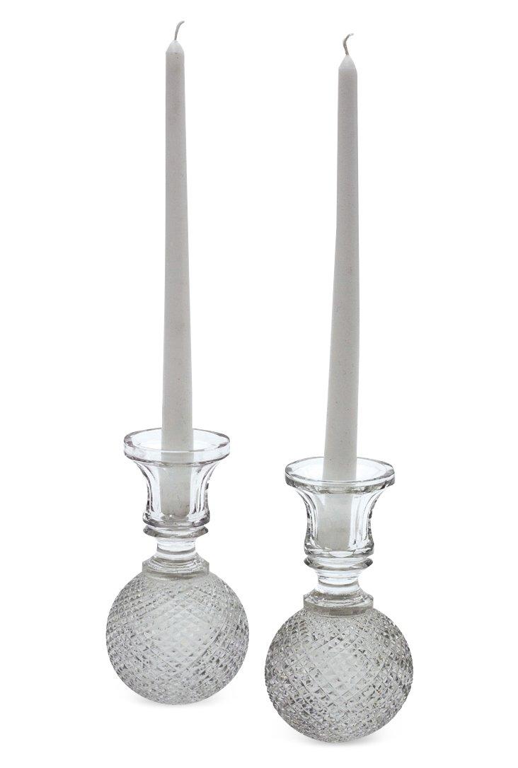 """Pair of 7"""" Cross-Cut Ball Candlesticks"""