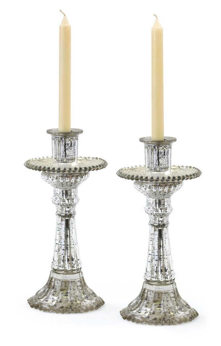 """Pair of 11"""" Fountain Candleholders"""