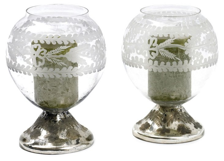 """Pair of 10"""" Crystal Ball Votives"""