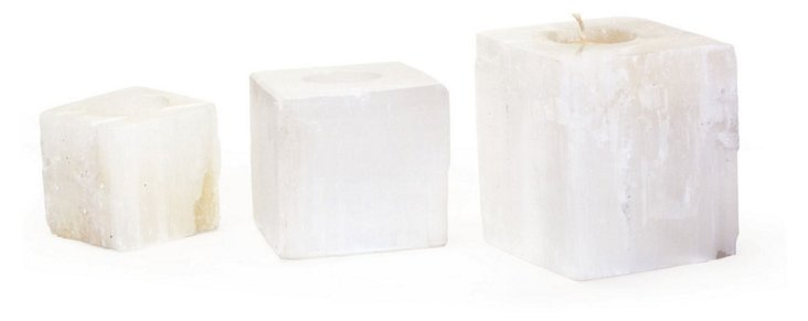 Asst. of 3 Square Rock-Crystal Votives