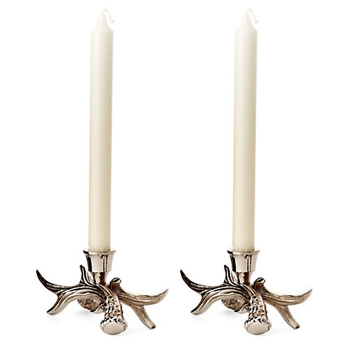 Pair of Stag Candlesticks, Silver