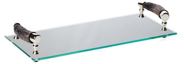 "17"" Bark-Handle Glass Tray, Clear"