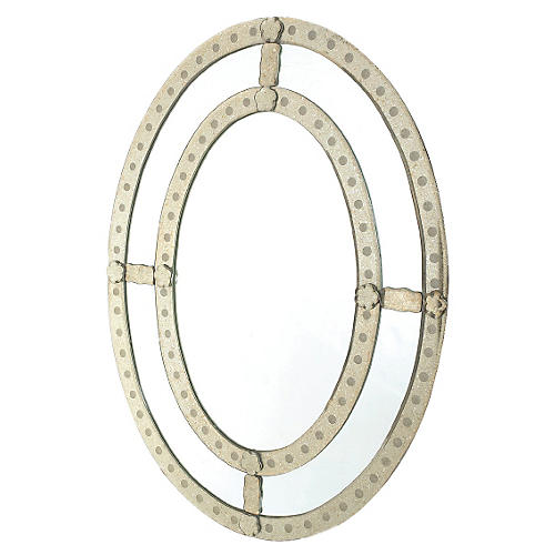 """Oval 24""""x32"""" Antiqued Trimmed Mirror"""