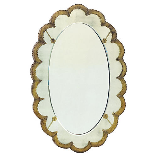 "Sweetheart 25""x37"" Wall Mirror, Gold"