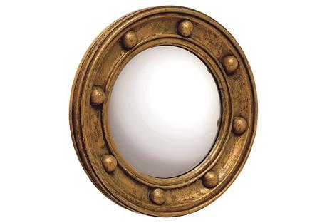Titanic Round Mirror, Antiqued Gold
