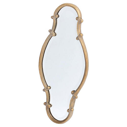 "Isles 12""x27"" Wall Mirror, Gold"