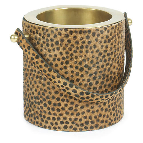 "9"" Leopard-Print Wine Cooler, Gold"