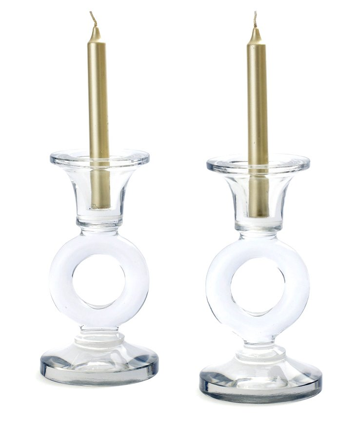 "Pair of 16"" Ring Taper Candleholders"