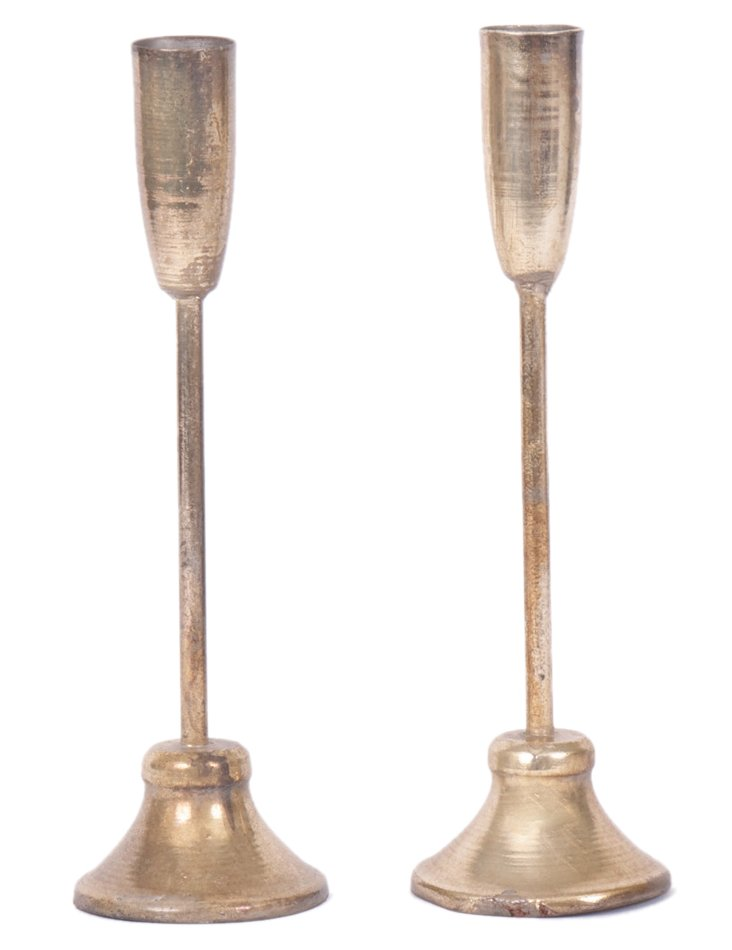 """Pair of 11"""" Taper Candleholders, Silver"""