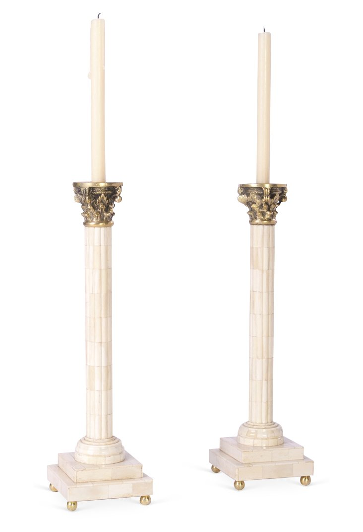 "Pair of 18"" Taper Candleholders, Ivory"