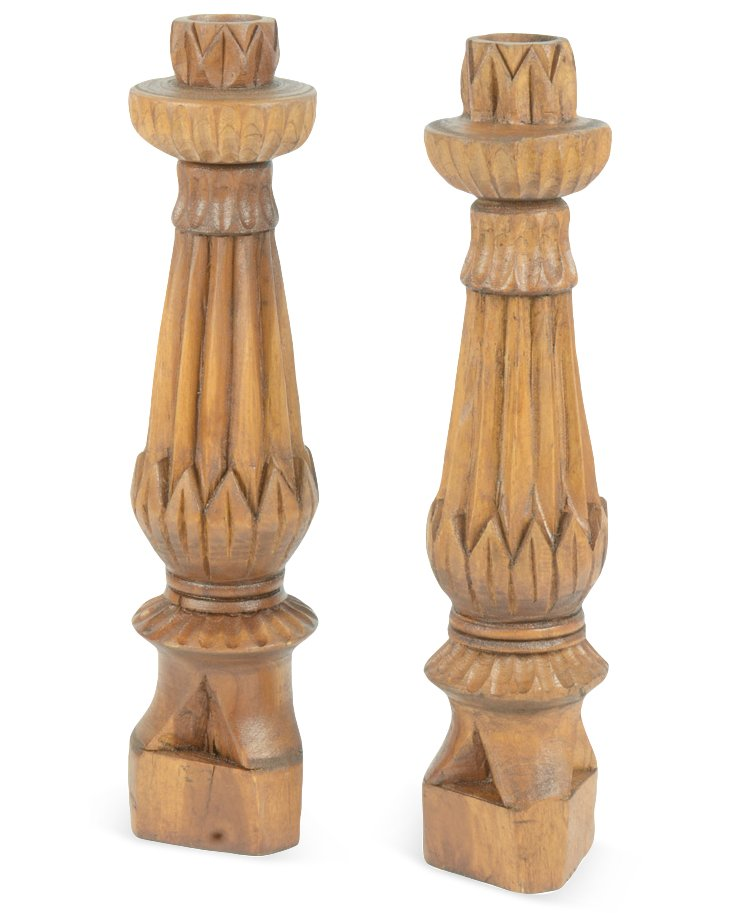 "Pair of 18"" Tapered Candleholders, Brown"