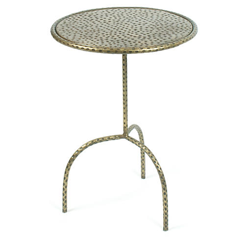 Hammered Side Table, Brass