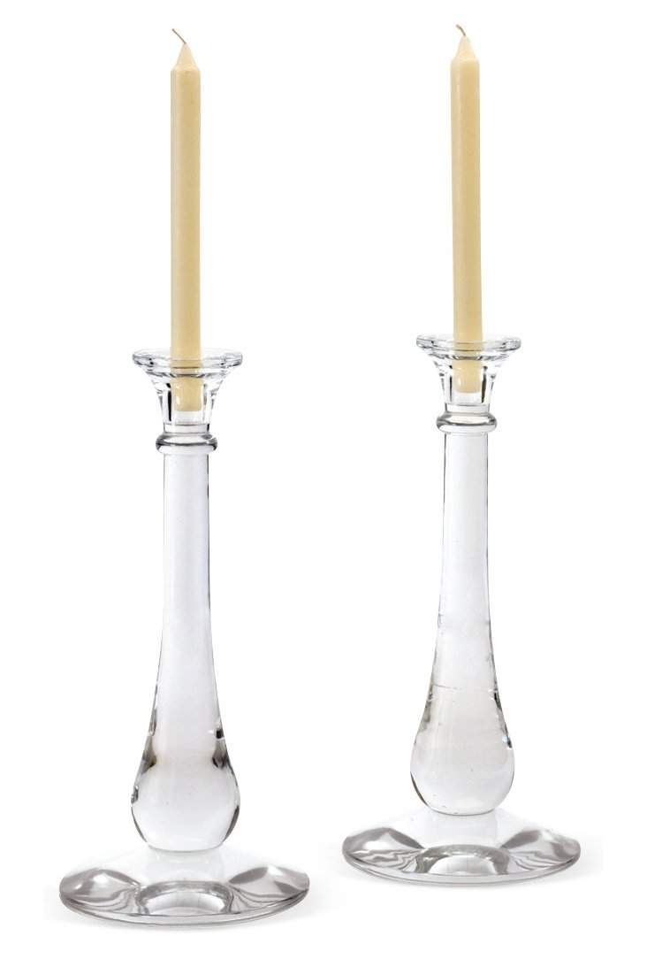 """Pair of 15"""" Taper Candleholders, Clear"""