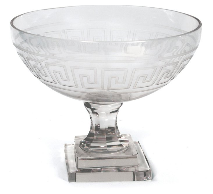 "10"" Greek Key Pedestal Bowl, Clear"