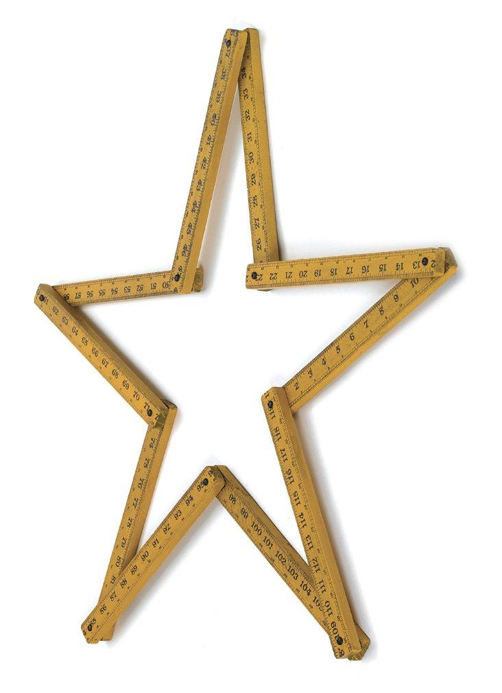 Wooden Ruler Star, Natural