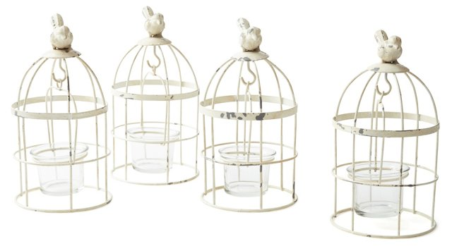S/4 Dove Candle Lights, White