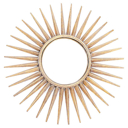 "Sunburst 29"" Wall Mirror, Brushed Gold"