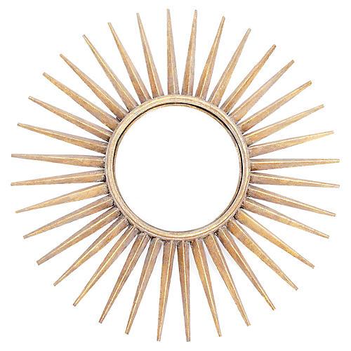 "Sunburst 29"" Wall Mirror, Brushed Gold"