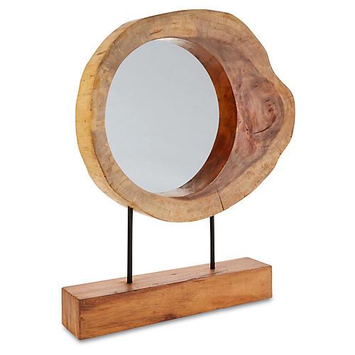 "24""x29"" Trunk Mirror on Stand, Tan"