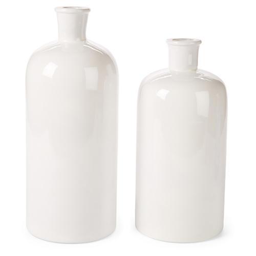 Asst. of 2 Bianco Vases, White