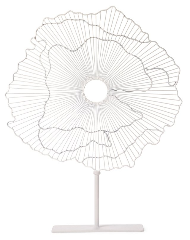 """23"""" Abstract Flower Decor, White"""