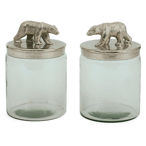 S/2 Glass Ardsley Jars, Silver