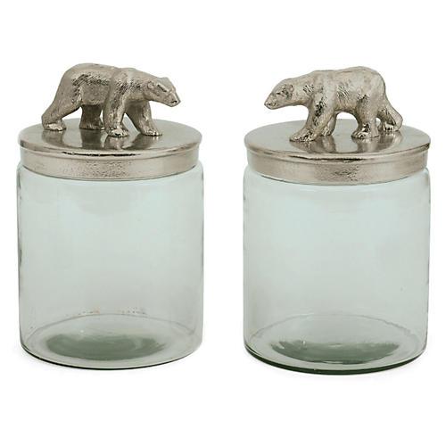 S/2 Glass Ardsley Jars, Silver