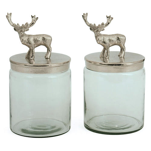 Pair of Glass Bambee Jars